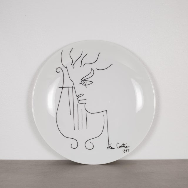 Mid 20th Century Jean Cocteau Promo-Ceram Midcentury Plates-Set of 2, Circa 1950-1980 For Sale - Image 5 of 5