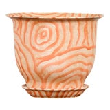 Image of Contemporary Chinese Salmon Colored Flower Vase with Stripes For Sale