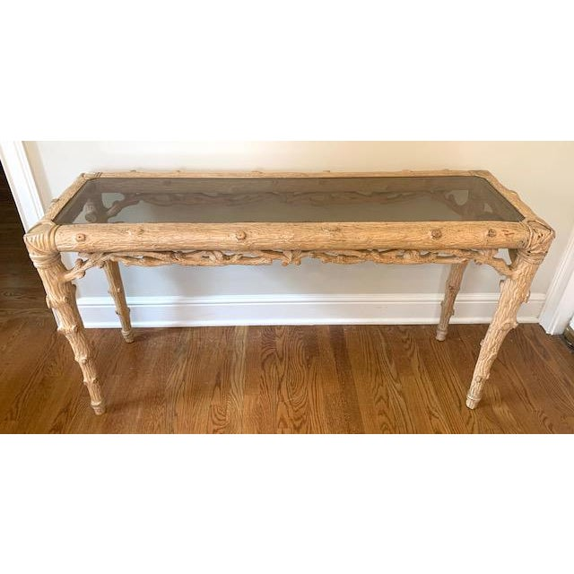 Mid-Century Modern Faux Bois Carved Wood Console With Glass Insert For Sale - Image 3 of 8