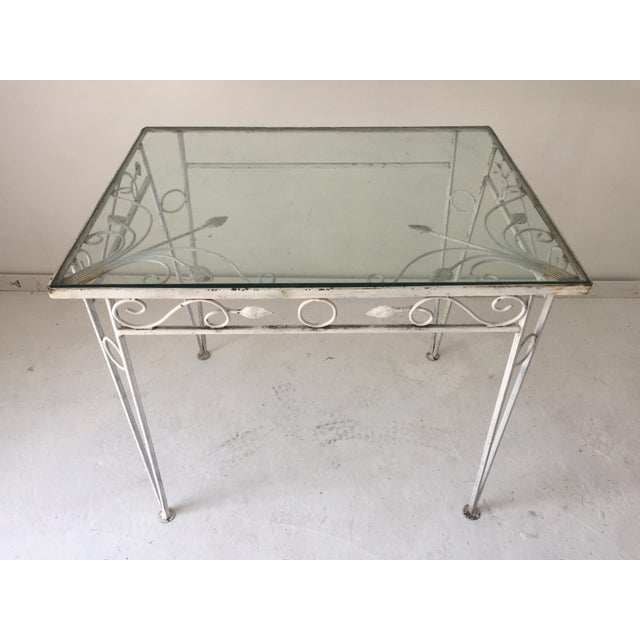 American C.1970 Apartment Size Wrought Iron Glass Top Table For Sale - Image 3 of 7