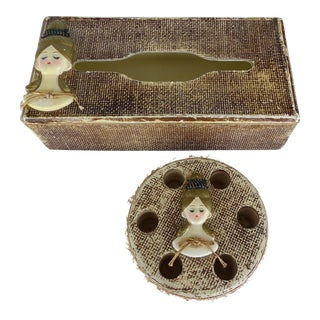1950s Shabby Chic Golden Tissue & Lipstick Holder Vanity Set - 2 Pieces For Sale