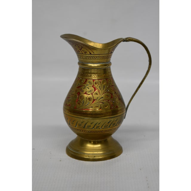 Vintage Indian Brass Vase For Sale - Image 4 of 5