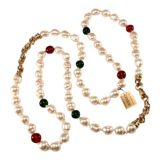Ciner 42 Inch Red Green and Faux Pearl Necklace After Chanel For Sale