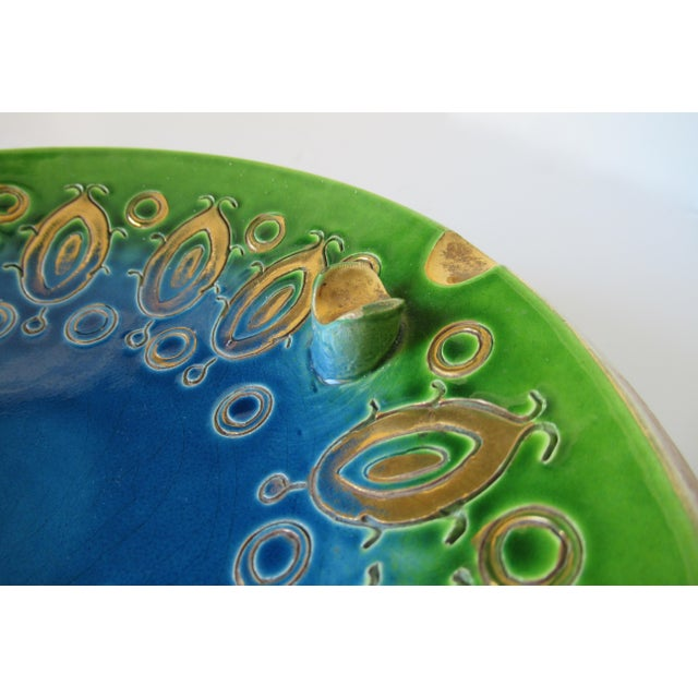 Vintage Mid-Century Aldo Londi for Bitossi Blue Ashtray, or Catchall Dish For Sale - Image 10 of 13