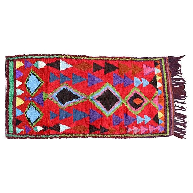 Vintage Moroccan Rug - 7'6'' x 3'8'' For Sale