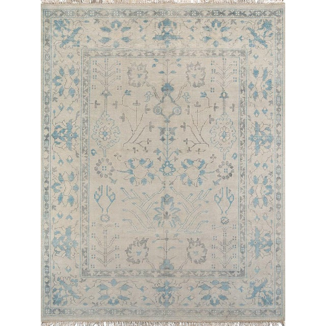 """Erin Gates Concord Lowell Ivory Hand Knotted Wool Area Rug 5'6"""" X 8'6"""" For Sale"""