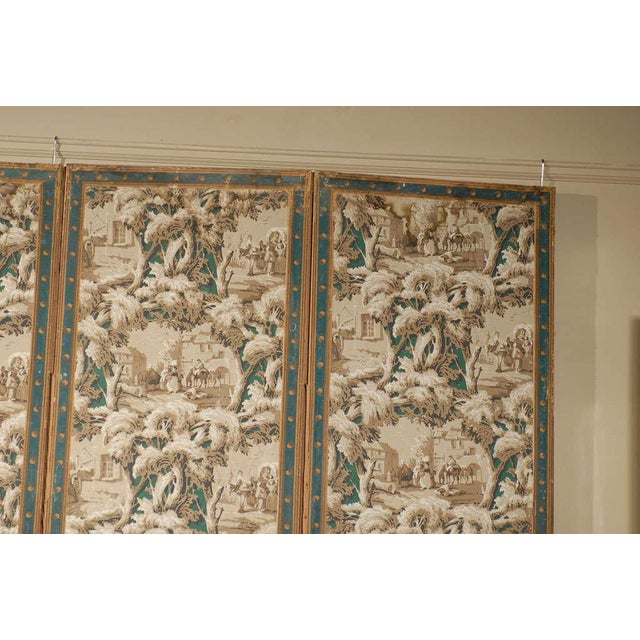 Mid 19th Century French 19th Century Zuber Style Four-Panel Paper on Canvas Screen For Sale - Image 5 of 11