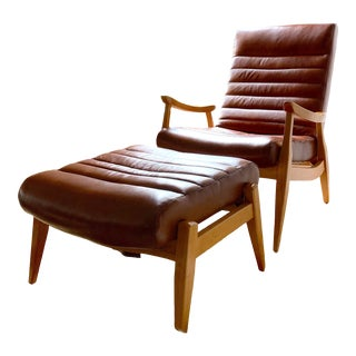 Hans Leather Chair and Ottoman For Sale