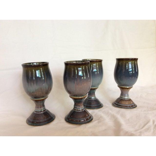 Boho Chic Blue & Purple Glazed Goblets - Set of 4 For Sale - Image 3 of 5
