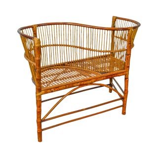 Quality Custom Crafted Rattan Bamboo Settee Tete-A-Tete