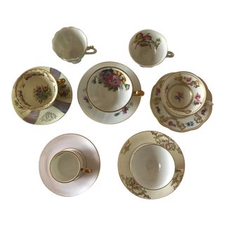 1920s Boho Chic Mis-Matched Demitasse, Teacups, & Saucers - 12 Pieces For Sale