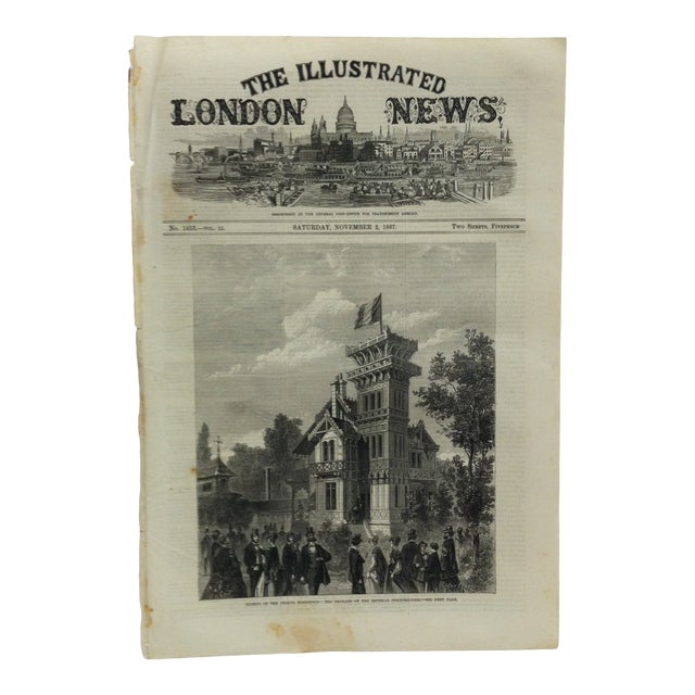 "1867 Antique ""Closing of the French Exhibition: The Pavilion of the Imperial Commissioners"" The Illustrated London News Print For Sale"