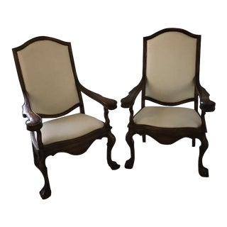 Large Wooden Armchairs - a Pair