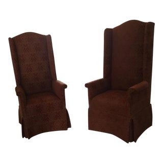 Modern Tall Dining Room End Chairs- A Pair For Sale