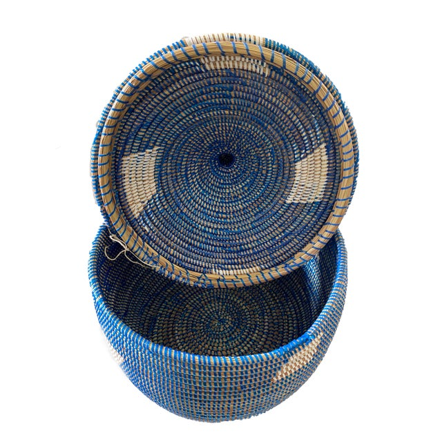"""African Colorful Basket W/ Lid Senegal West Africa 15"""" H For Sale - Image 3 of 6"""