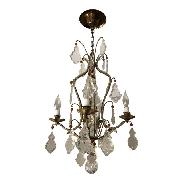 French 4 Arm Wrought-Iron Chandelier - Image 1 of 3