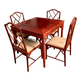 1970s Chinese Chippendale Faux Bamboo Game Table Dining Set - 5 Pieces For Sale