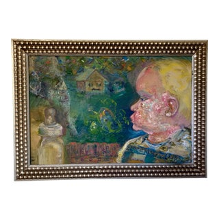 """""""Little Voices"""" Contemporary Expressionist Figurative Oil Painting, Framed For Sale"""