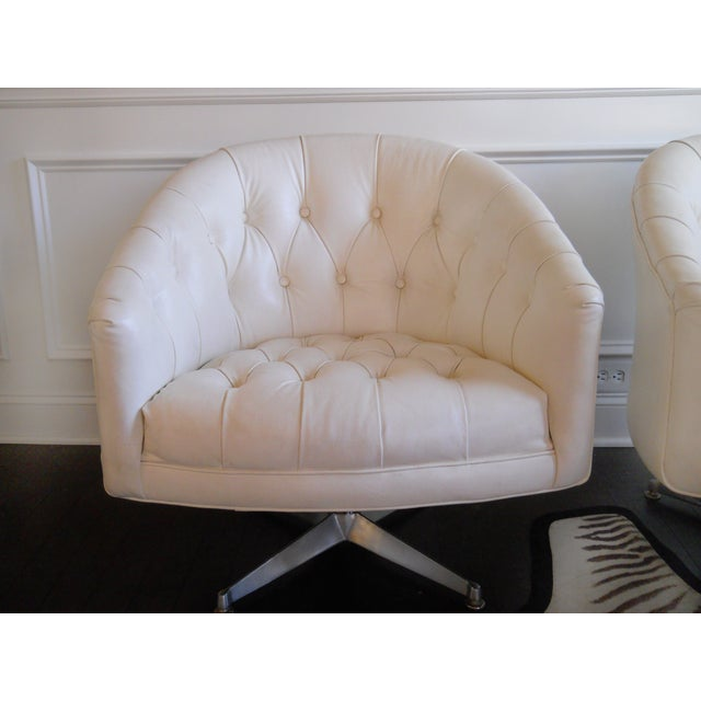 1970s Ward Bennett Tufted Swivel Chairs - Pair - Image 3 of 10