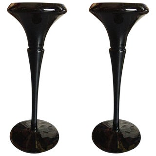 Black Amethyst Candlesticks - a Pair For Sale