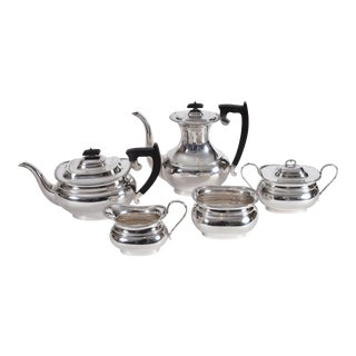 Vintage Sterling Silver English Sheffield Five Pieces Tea or Coffee Service - Set of 5 For Sale