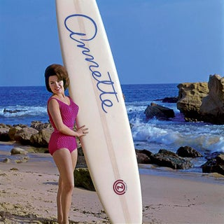 1964 Annette Funicello and Her Surfboard (12x12 Canvas) For Sale