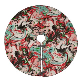 Contemporary Kate Spade Water Color Print Tree Skirt For Sale