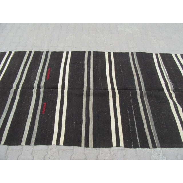 "Mid-Century Modern Vintage Striped Kilim Rug - 5'1"" x 10'5"" For Sale - Image 3 of 6"