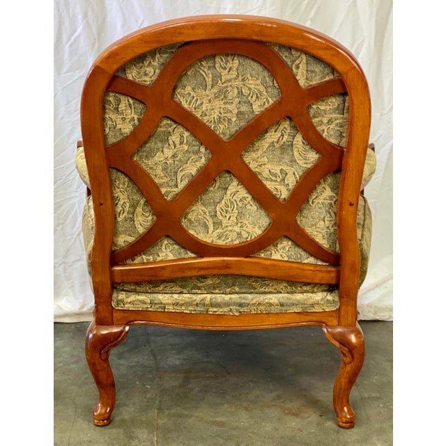Late 20th Century Vintage Walnut Drexel Heritage Upholstered Bergere Chair For Sale - Image 5 of 10