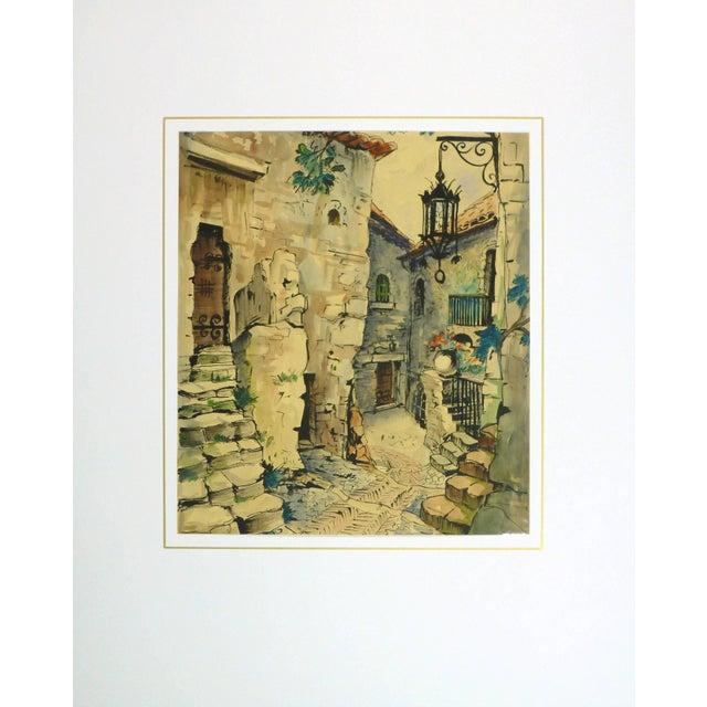 Augustin Faure, Vintage French Watercolor - Village De Provence For Sale - Image 4 of 5