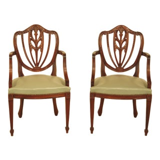Solid Mahogany Carved Shield Back Arm Chairs - a Pair For Sale