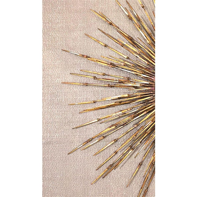 Mid-Century Modern American Gilt Metal Wall Sunburst by William Bowie For Sale - Image 3 of 5