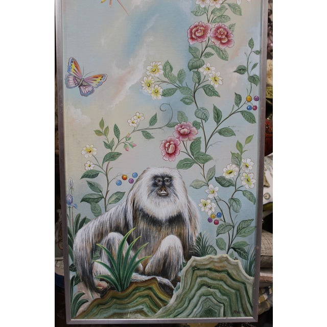 """20th century Chinoiserie decorative painting of a monkey with floral and butterfly scene. Artist: Signed """"Read"""", no first..."""