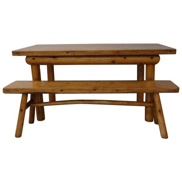 Knotty Pine Rustic Adirondack Ranch or Cottage Dining Table With Benches For Sale - Image 10 of 10