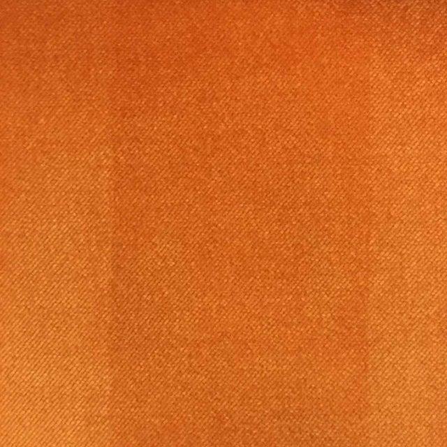 1970s Milo Baughman Style Parsons Sofa Reupholstered in Orange Velvet For Sale - Image 5 of 6