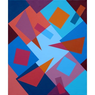 """""""Composition With Triangles No. 3"""" Contemporary Geometric Hard Edge Acrylic Painting by Sassoon Kosian For Sale"""