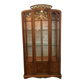 1960's Italian Hand Carved Deco Style Curio Cabinet
