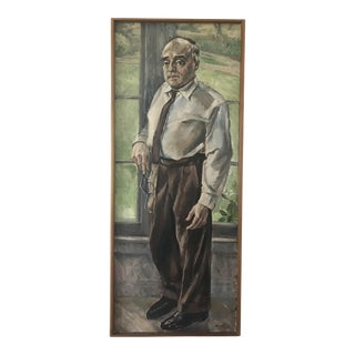 Vintage Mid-Century Janos Bernat Portrait Painting For Sale