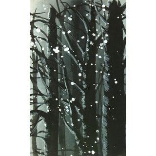Landscape Gouache - Winter Forest Snow For Sale