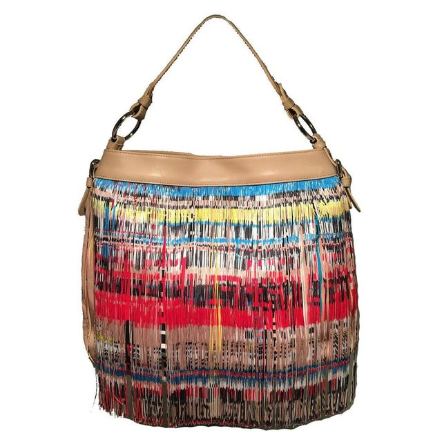 Versace Multicolor Fringe Leather and Twill Frida Hobo Shoulder Bag in excellent condition. Multicolor nylon fringe over a...