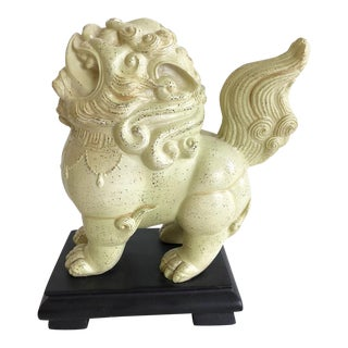 Foo-Dog Figure With Creamy White Finish on Black Stand For Sale