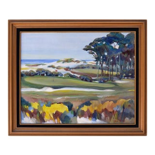 """1980s """"On the Green, Monterey Bay"""" Plein Air Landscape Oil Painting, Framed For Sale"""