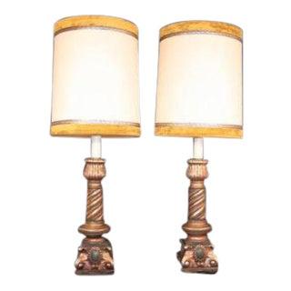 Pair Pieri Tullio Vintage Italian Hollywood Regency Column Table Lamps Green & Gold For Sale