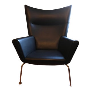 Hans Wegner Black Leather Wingback Chair