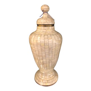 Antique Moroccan Palatial Lidded Bone Over Brass Urn For Sale