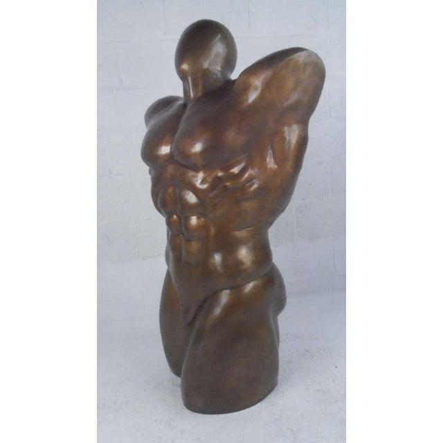 Impressive Bronze Sculpture of Nude Male For Sale - Image 5 of 5