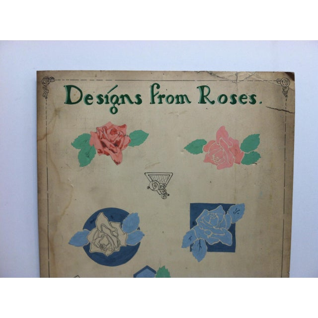 """This is a Vintage Piece of Original Artwork on a sign that reads """"Designs from Roses"""". The Artwork was done by Thomas B...."""
