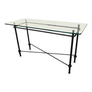 Custom Glass & Metal Console For Sale