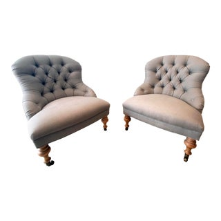 Tufted Linen Armless Chairs- a Pair For Sale