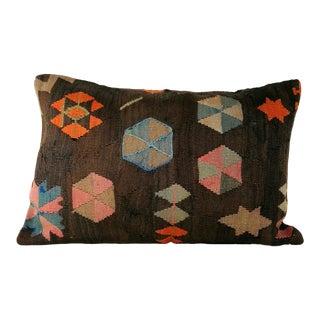 Turkish Geometric Tribal Vintage Kilim Pillow For Sale